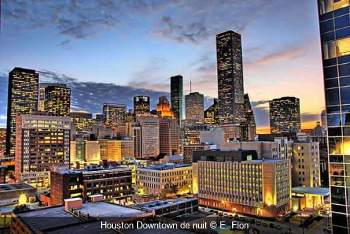 Houston Downtown de nuit E. Flon